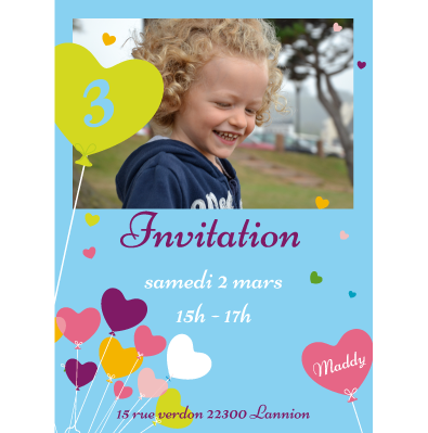 Invitation anniversaire Maddy - Faire Part Magnet