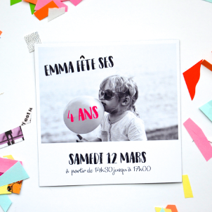 invitation anniversaire 4 ans faire part magnet. Black Bedroom Furniture Sets. Home Design Ideas