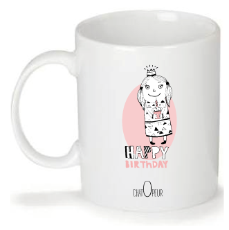 "Mug personnalisé Design ""Chatopeur"" Happy birthday"