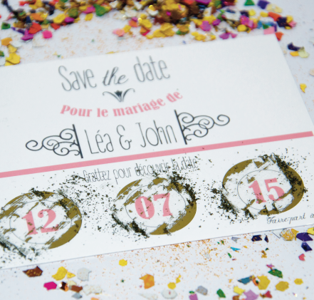 Carte à gratter save the date