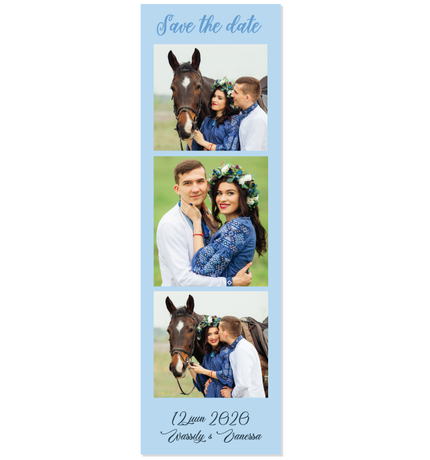 Save the date photomaton bleu infini