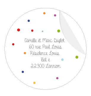 Sticker rond confettis - Faire Part Magnet