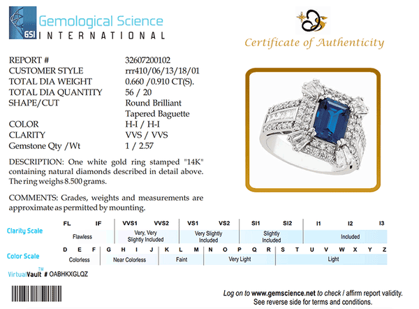 RRR0410 -Blue Sapphire Baguettes and Round Diamonds Ring