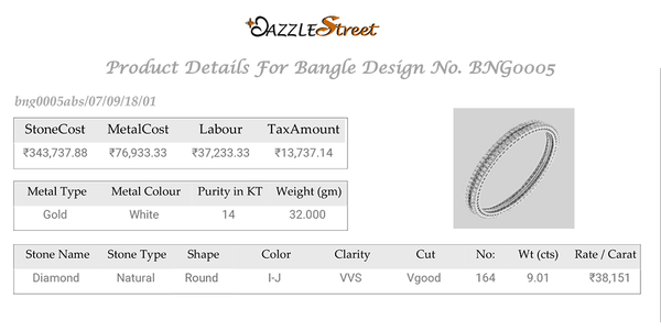Diamond Details Of Colour, Clarity, Cut , Weight and Rate per carat. Details of the Gold, and Cost break- up.