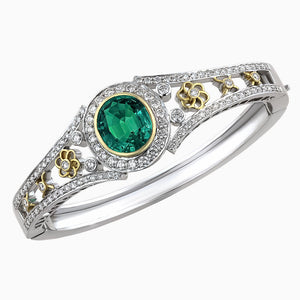 BNG0106 Antique Emerald & Diamond Bracelet
