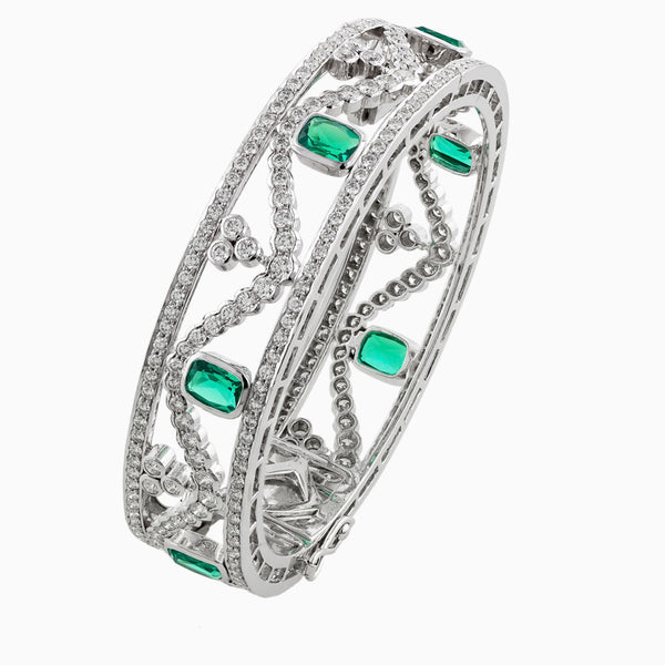 BNG0115 Royal Aura Emerald & Diamond Bracelet