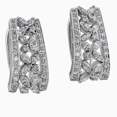 ERB0047 White Gold Round Diamonds & Marquise Earrings Ballis