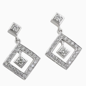 ERH0021 Hanging Square Diamond Earrings