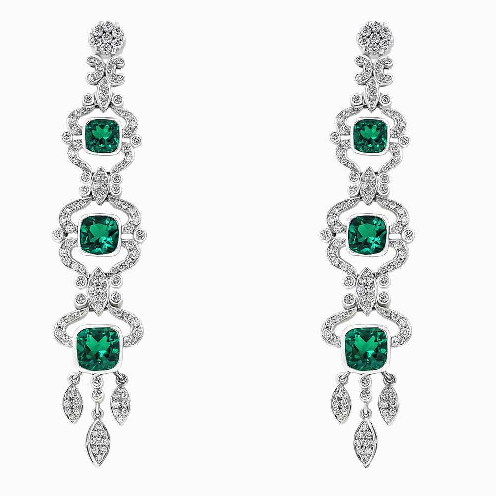 ERH0123 Emerald Hanging Diamond Earrings