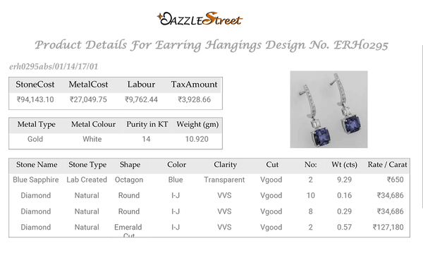 ERH0295 Sapphire Diamond Hanging Earrings