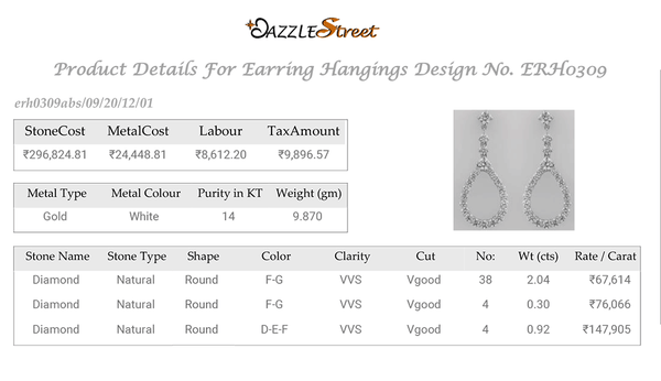 ERH0309 White Gold Hanging Diamond Earrings