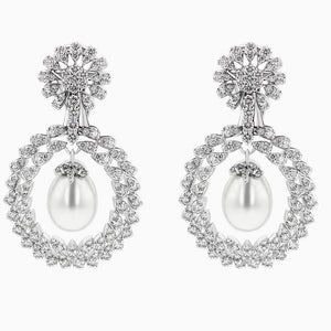 ERH0337  Flamboyant Diamond Hanging Earrings With Pearl Drops