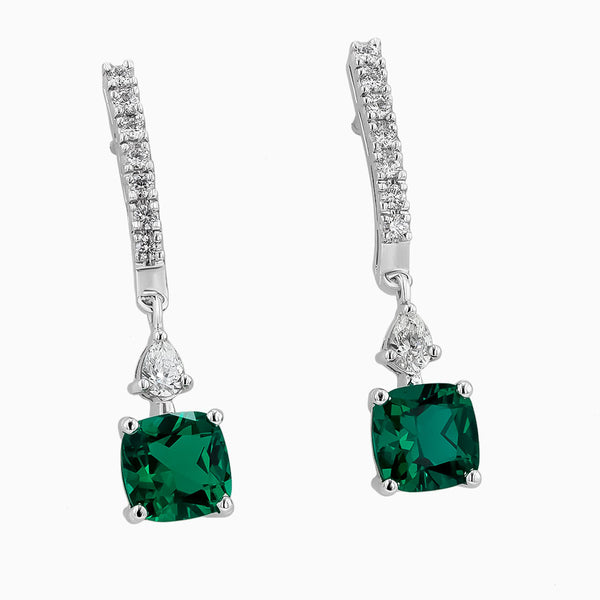 ERH0466 Diamond & Emerald Hanging Earrings