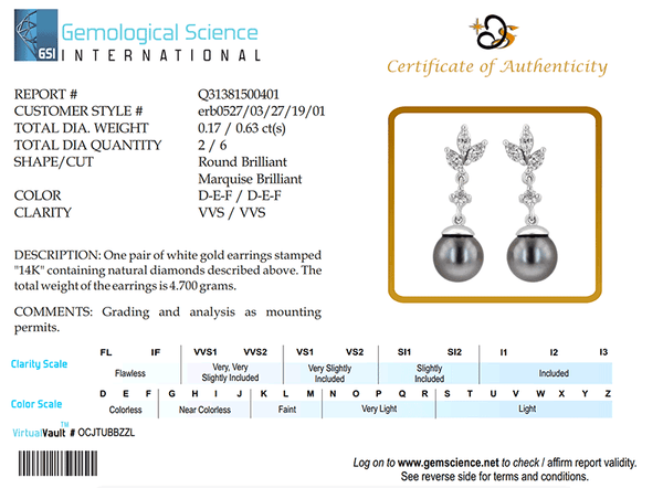 ERH0527 Black Pearl Hanging Earrings