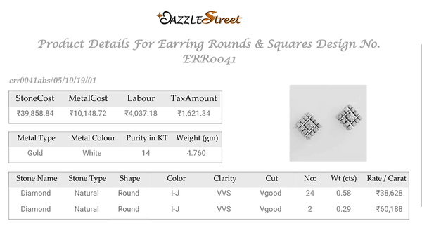 ERR0041 Square White Diamond Earrings