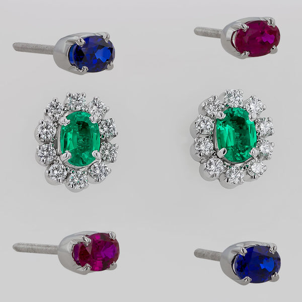 Err0046 Diamond Earrings With Oval Replaceable Color Stone