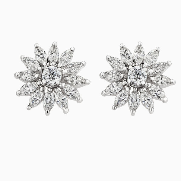 ERR0086 Round Diamonds & Marquise Earrings