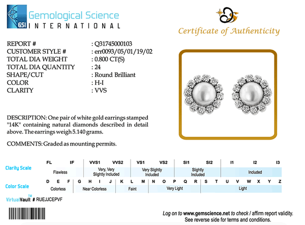 The Third party Diamond Certification Of the Quality of diamonds by Gem Science International for the pearl and diamond earring err0093