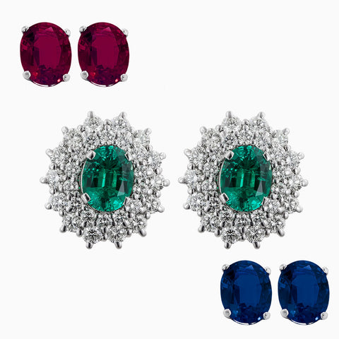 ERR0216 Royal Diamond Earrings With Replaceable Color Stones