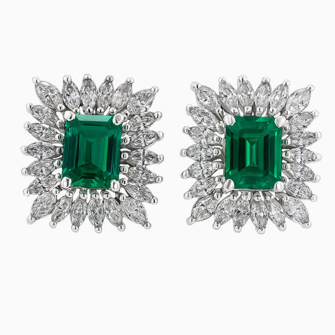 Image of the Diamond Marquise and Emerald Earrings