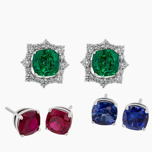 ERR0295-Diamonds & Replaceable Color Stones Earrings