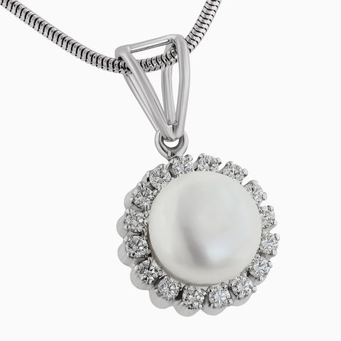 The Image for the PDS0124 Pearl & Diamond Pendant