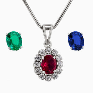 Pds0189-Diamond Pendant with Oval replaceable Color Stones