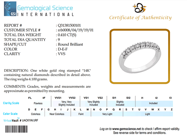The Third party Diamond Certification Of the Quality of diamonds by Gem Science International for rrb0008