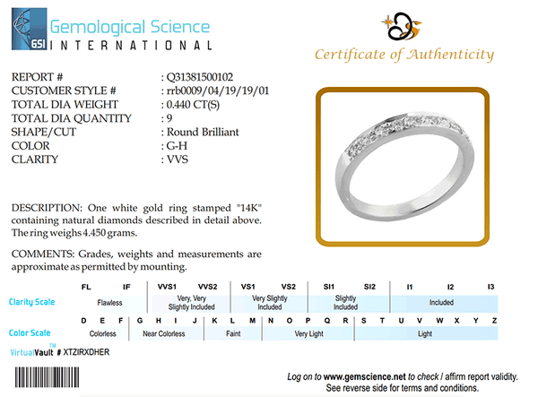 RRB0009 White Gold Band / Diamond Ring