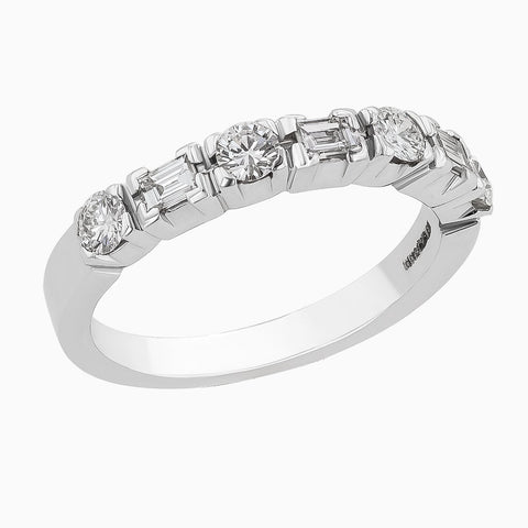 RRB0021 White Ring with Baguette and Round Diamonds