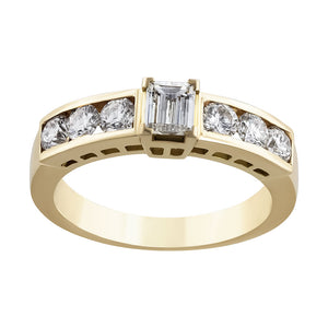 RRB0097-Baguette & Round Diamonds Ring Band