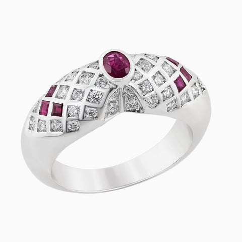 RRR0059-Rubies & Diamonds Ring