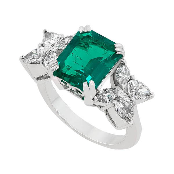 Second image for the diamond and emerald ring rrr0169