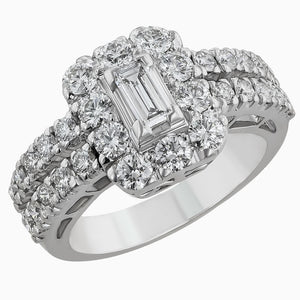 RRB0189 - image for the Baguette & Round Diamond Ring In white gold