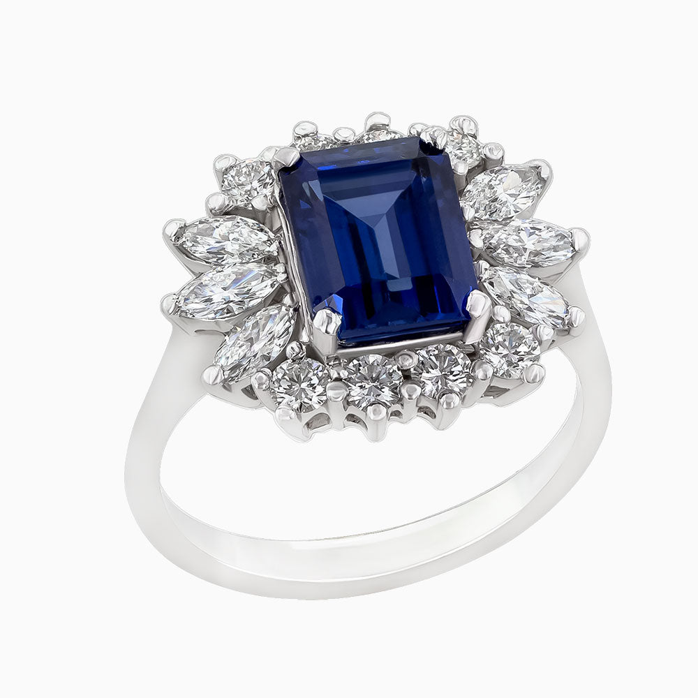 Image for the white gold Blue Sapphire and Diamond ring rrr0236