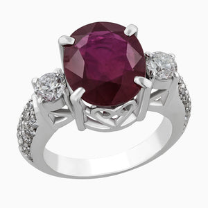 Image for the Ruby & Diamond Solitaire ring RRS0071