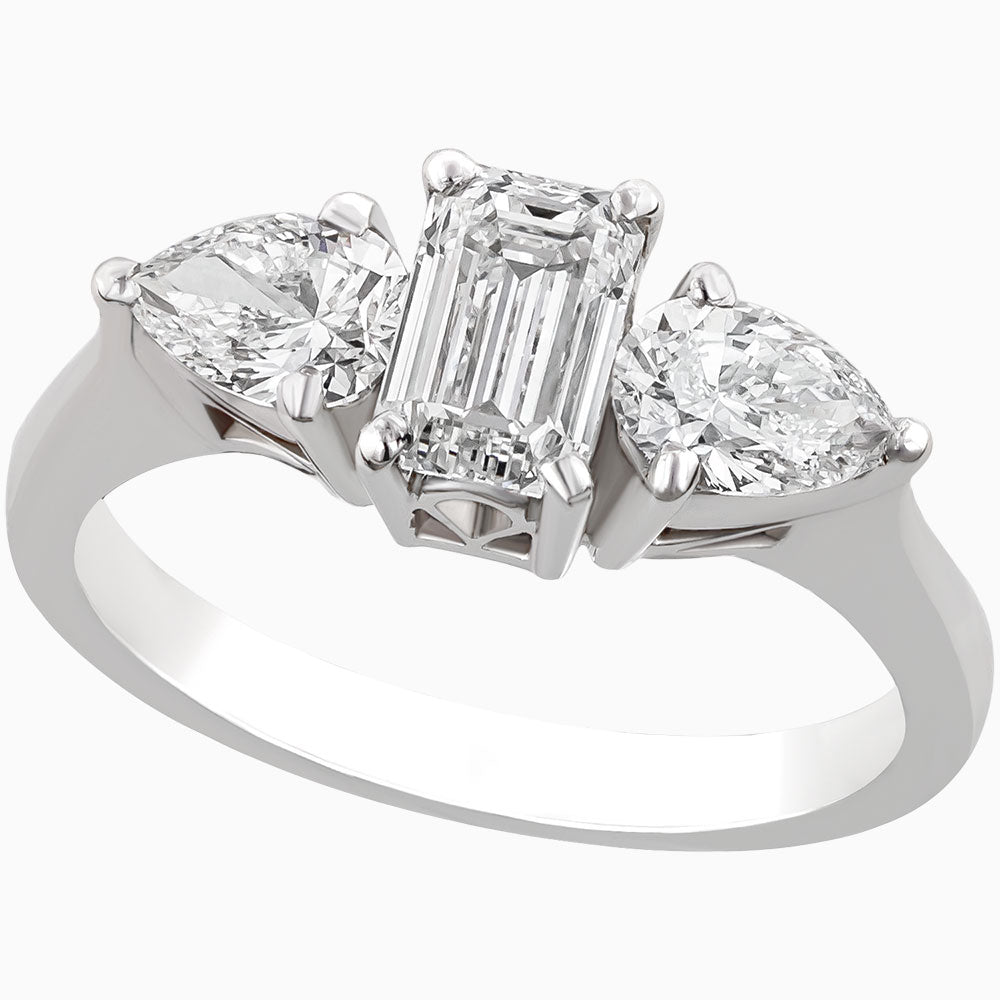 RRS0104-Emerald Cut and Pear Diamonds Ring