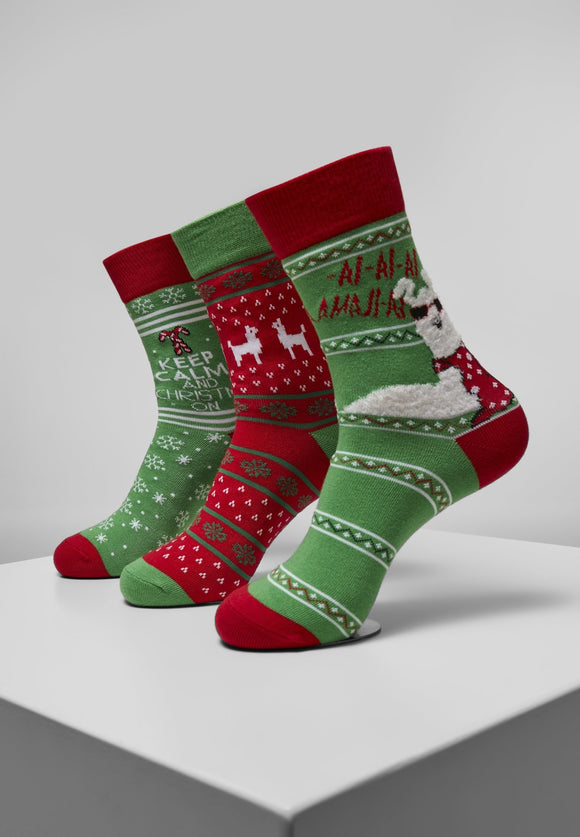 Christmas Lama Socks 3-pack Xmas Urban Classics