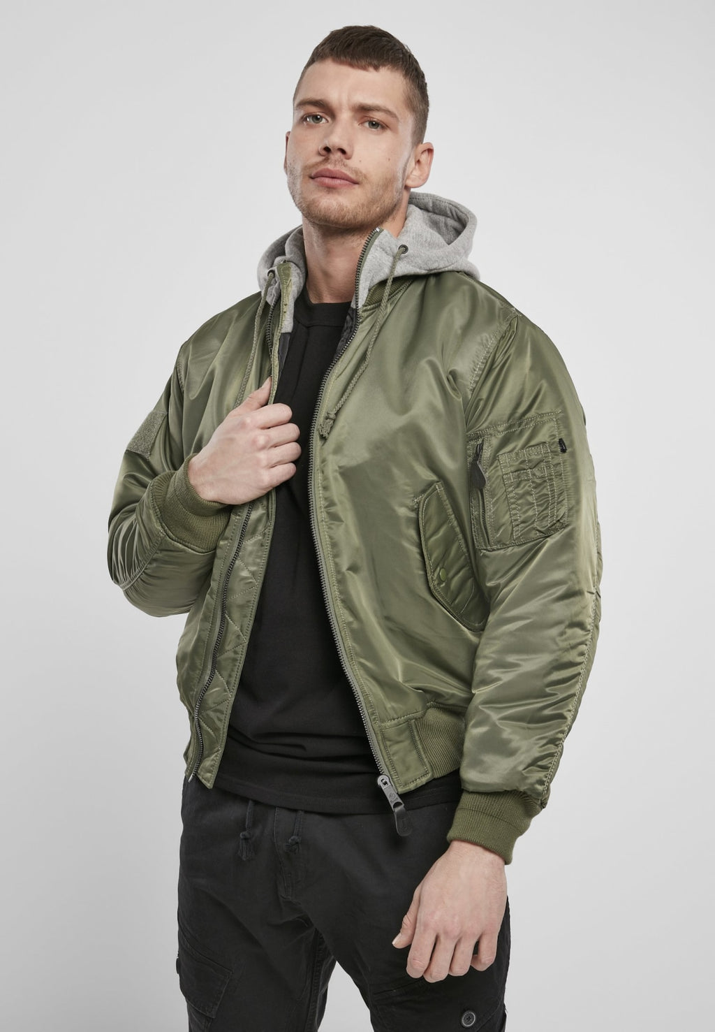 Hooded Ma1 Bomber Jacket Olive/grey / s Jacket Winter Brandit
