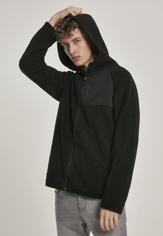 Hooded Sherpa Zip Jacket Black / s Jacket Urban Classics