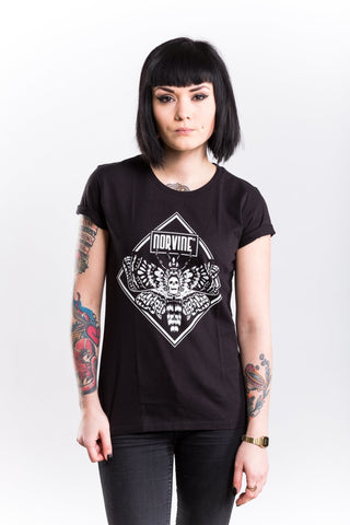 Moth Womens T-Shirt Black / S Tshirt-Women Norvine