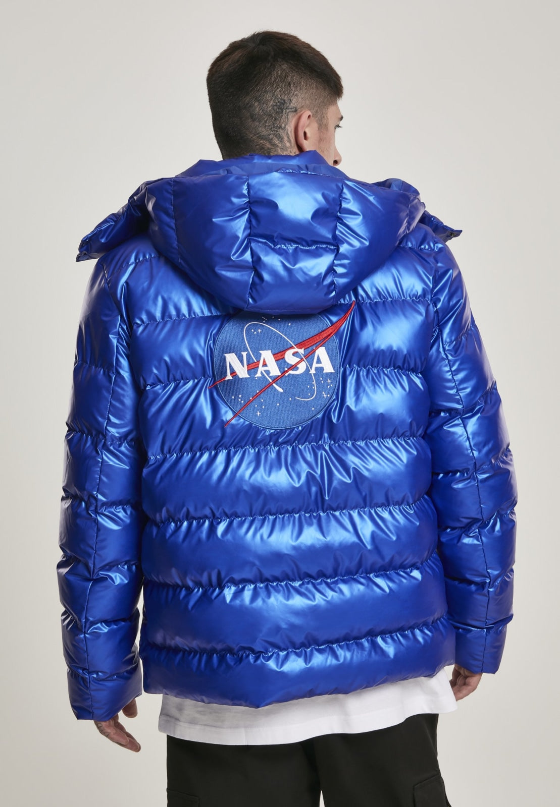 Nasa Insignia Metallic Puffer Jacket Nasa Mister Tee