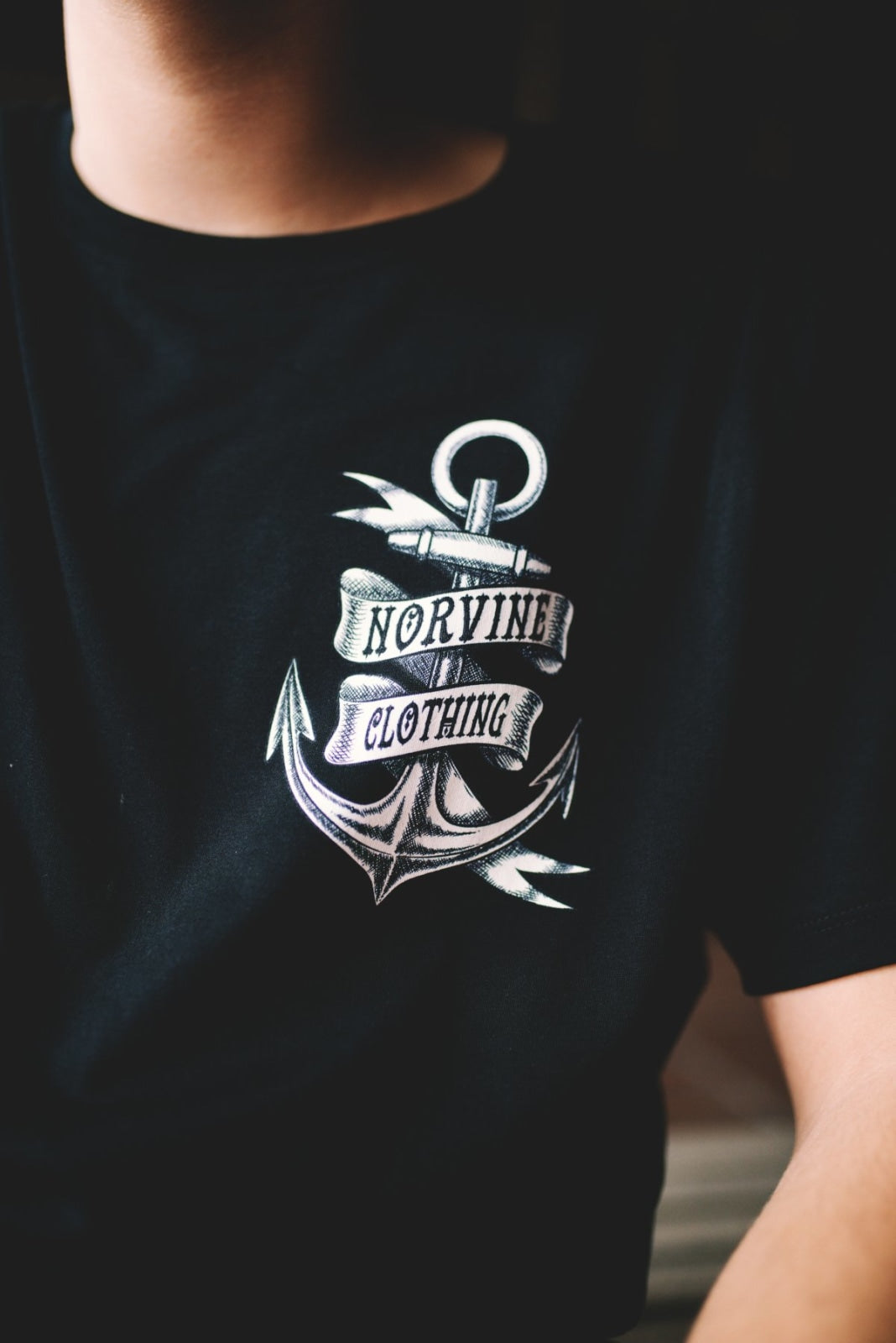 Organic old Anchor Tattoo Design back & front T-shirt Norvine