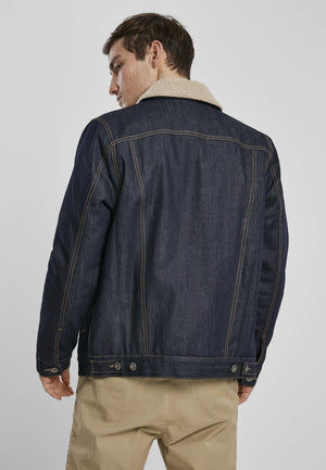 Sherpa Lined Jeans Jacket - Rinsed Denim Jacket Urban Classics