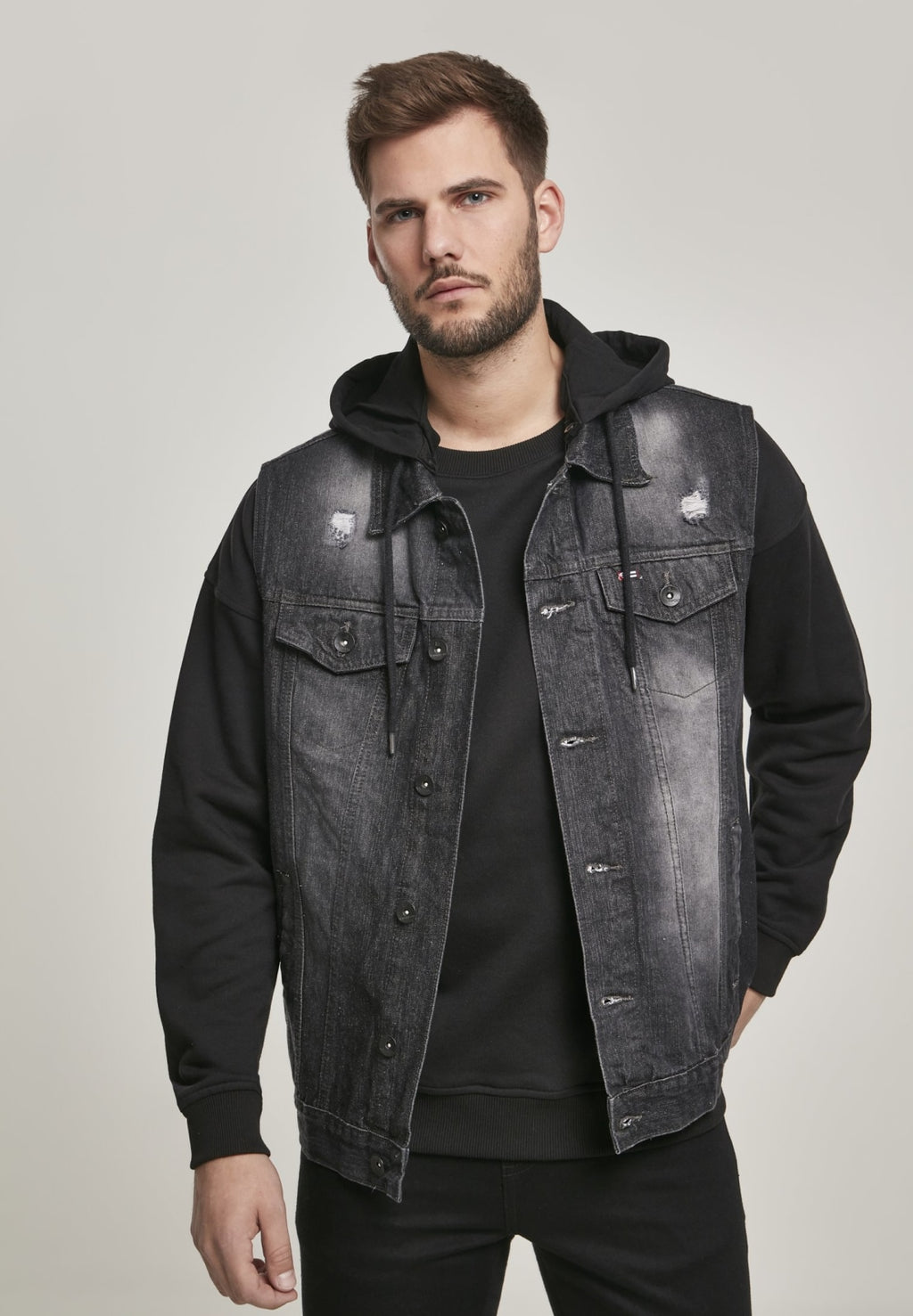 Southpole Hooded Denim Vest Washed Black / s Jacket Southpole