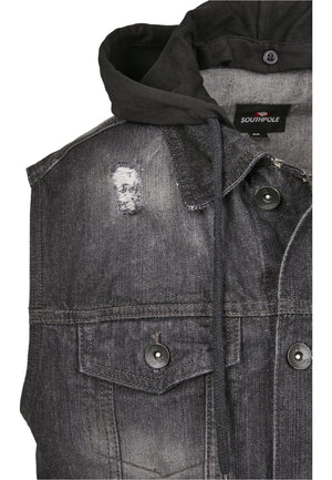 Southpole Hooded Denim Vest Jacket Southpole