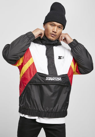 Starter Color Block Half Zip Retro Jacket - Black White Red Gold Jacket Light Starter