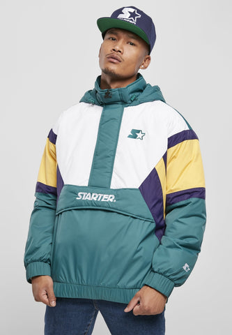 Starter Color Block Half Zip Retro Jacket - Green White Yellow Purple Jacket Light Starter