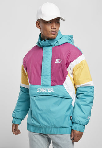 Starter Color Block Half Zip Retro Jacket - Lake Blue Pink Yellow White Jacket Light Starter