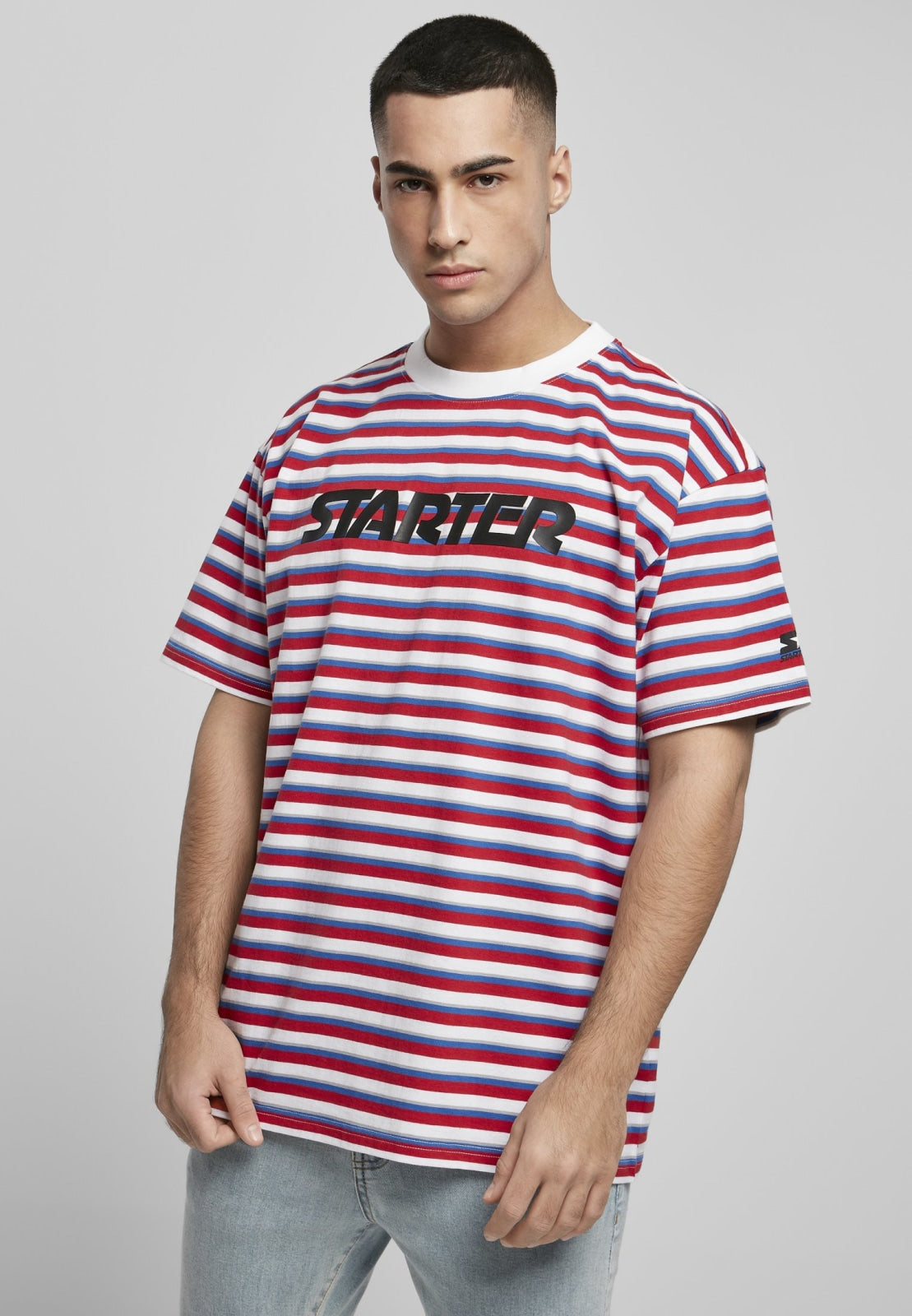Starter Stripe Jersey City Red/white/sporty Blue/silver Grey / s T-shirt Starter